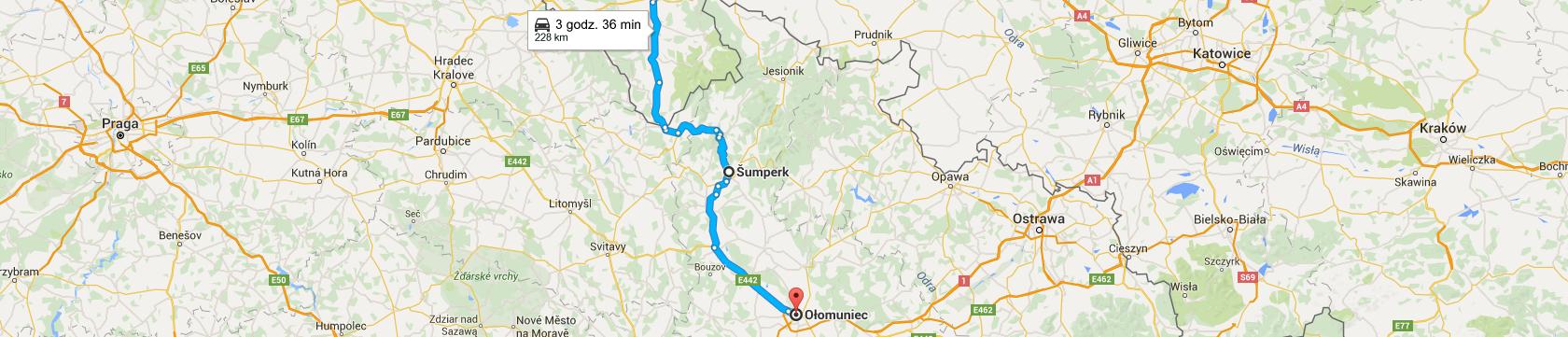 Trasa do Ołomuńca przez Šumperk
