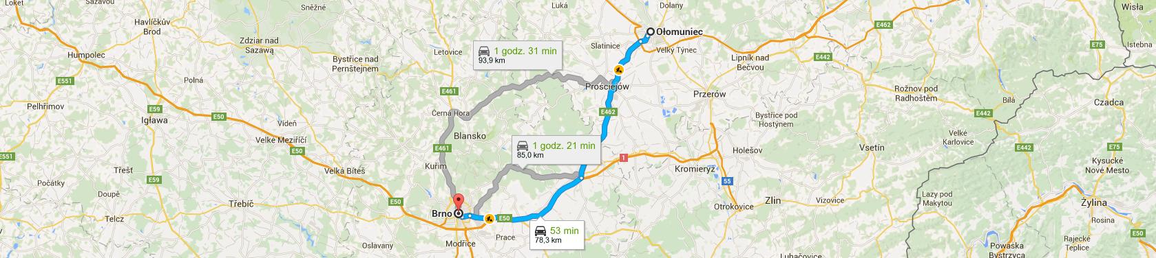 Trasa z Ołomuńca do Brna