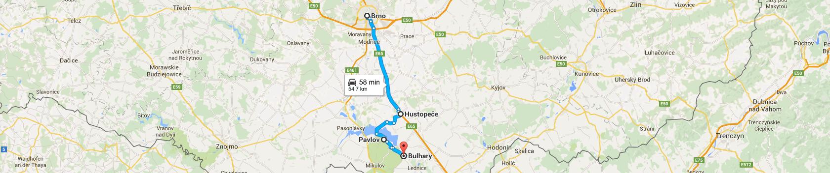 Trasa z Brna do wsi Bulhary