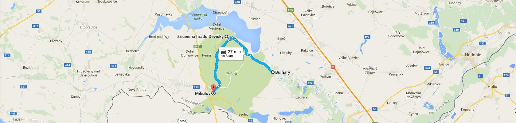 Trasa do Mikulova przez Pavlov