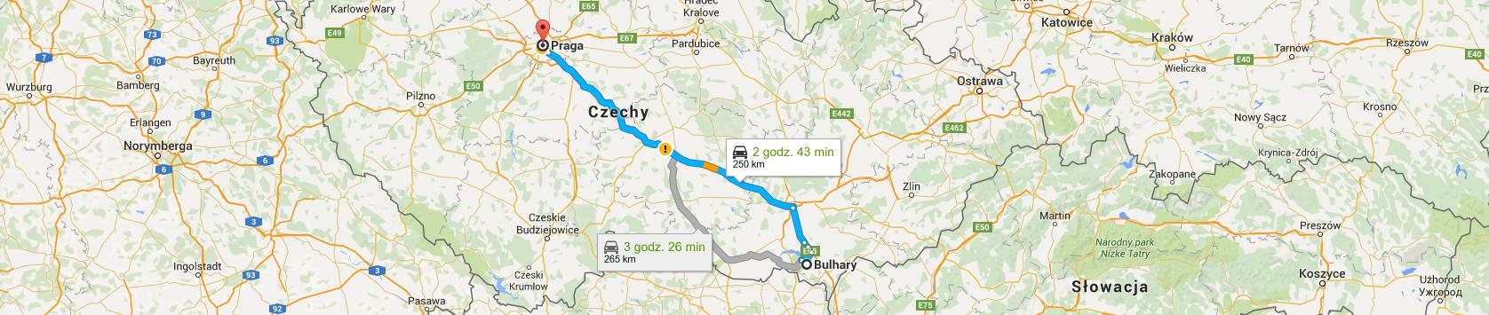 Trasa z Bulhar do Pragi