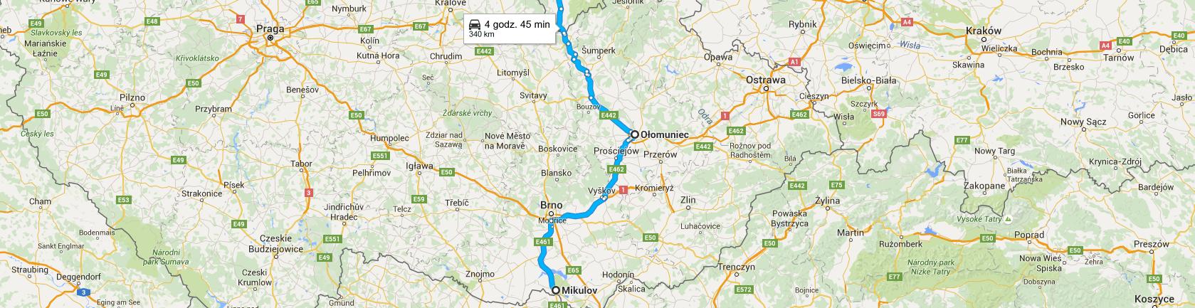 Trasa powrotna z Moraw - przez Ołomuniec i Boboszów
