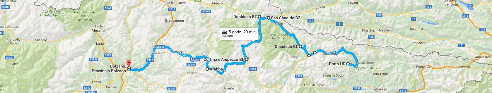 Trasa z Prato Carnico do Bolzano