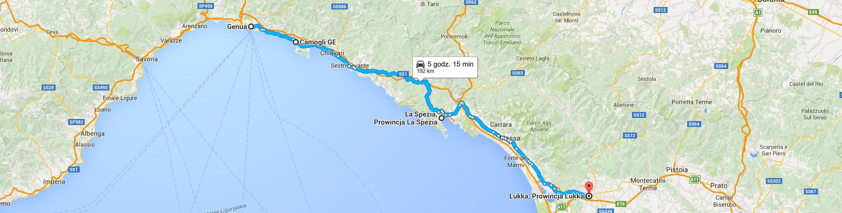 Trasa z Genui do Lukki