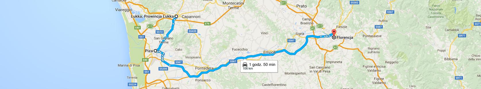 Trasa z Lukki do Florencji