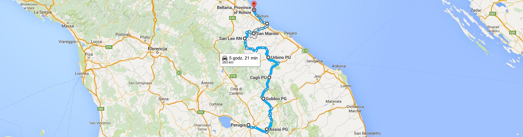 Trasa z Perugii do Bellarii