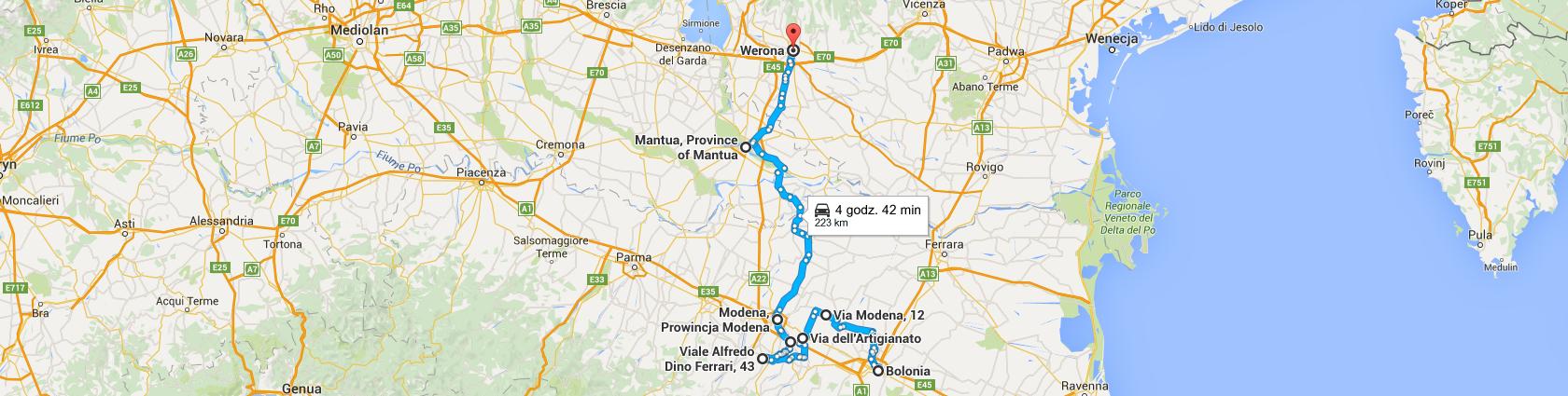 Trasa z Bolonii do Verony