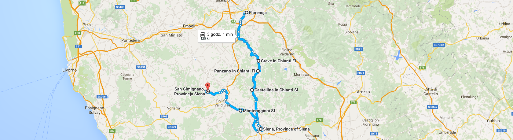 Trasa z Florencji do San Gimignano