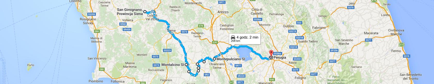 Trasa z San Gimignano do Perugii