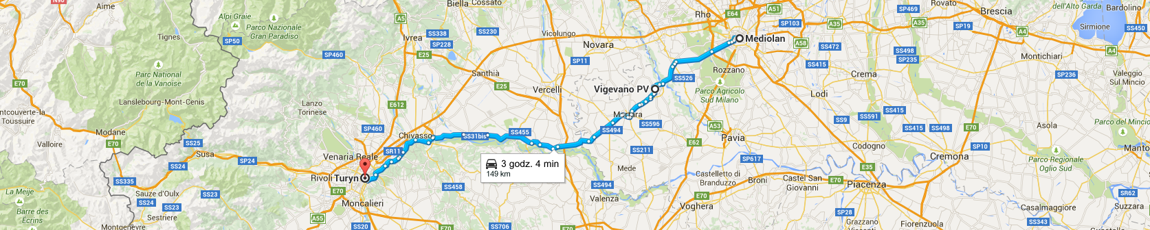 Trasa z Mediolanu do Turynu