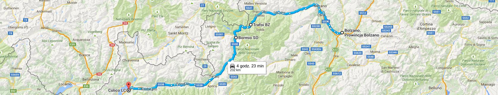 Trasa z Bolzano do Colico