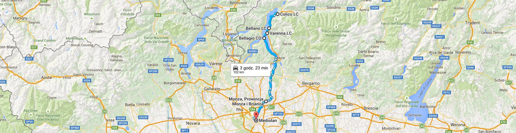 Trasa z Colico do Mediolanu