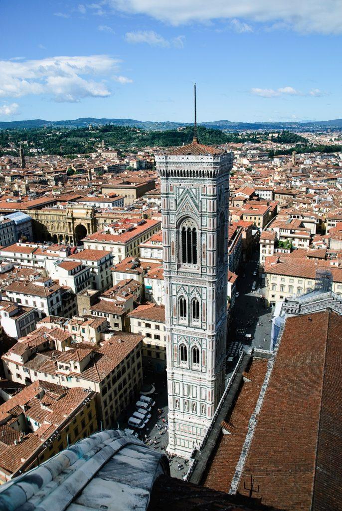 Florencja - widok na Campanille z kopuły katedry