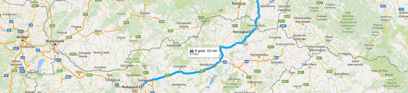 Trasa powrotna z Budapesztu