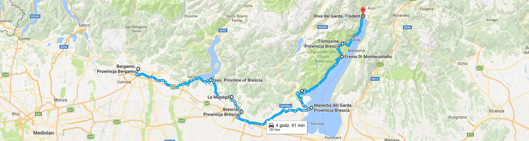 Trasa Bergamo Riva Del Garda brzegiem Jeziora Garda