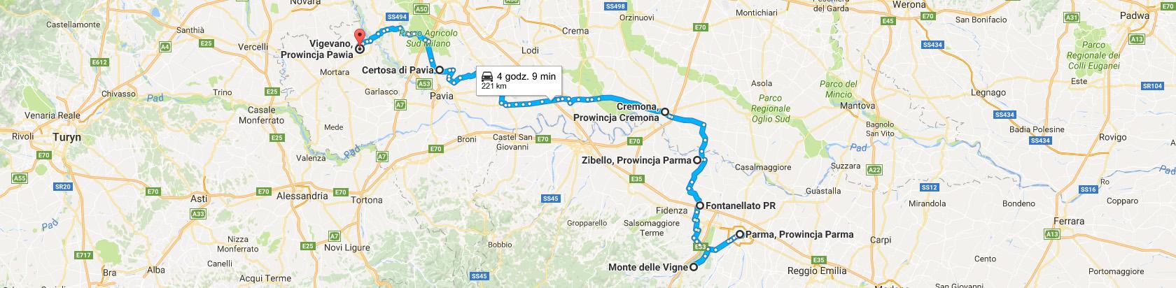 Trasa z Parmy do Vigevano