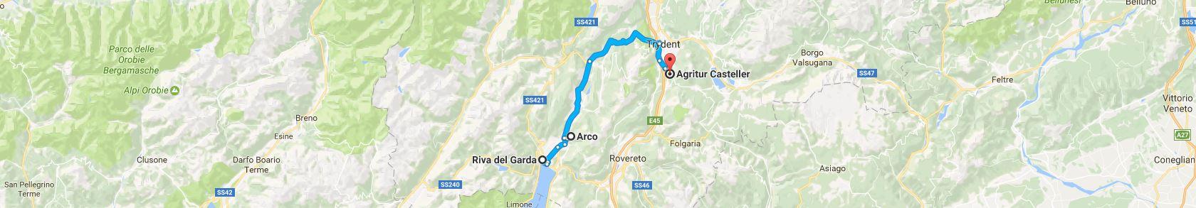 Trasa z Riva del Garda do Trydentu