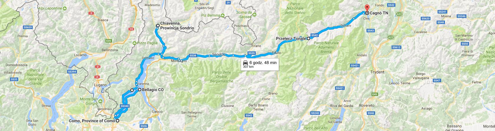 Trasa z Bellagio do Cagnò