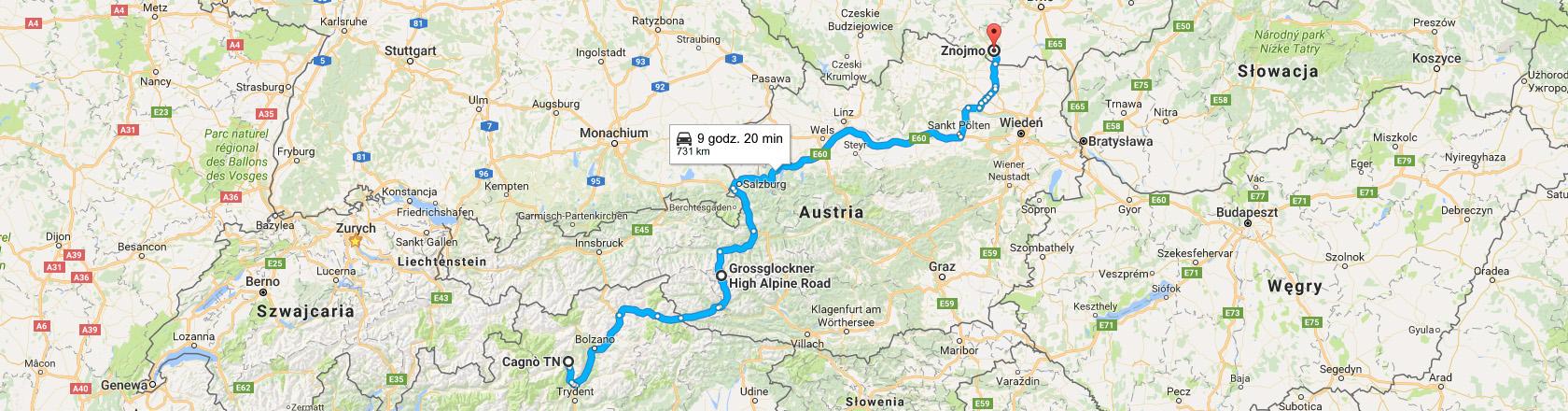 Trasa z Cagnò do Znojma przez Grosslockener