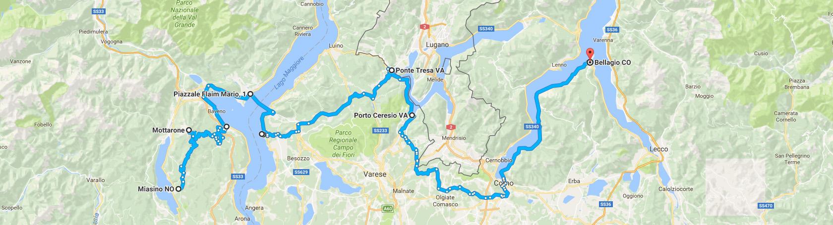 Trasa z Miasino do Bellagio przez trzy Jeziora