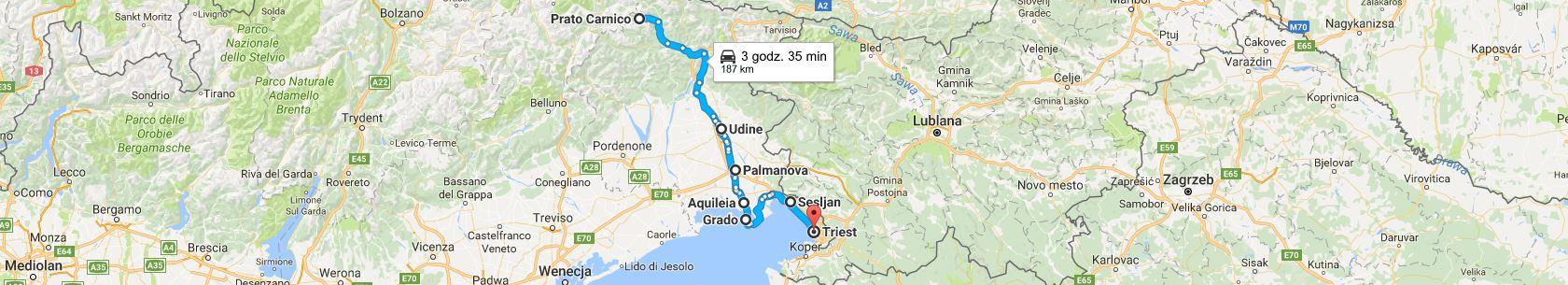 Trasa z Prato Carnico do Triestu