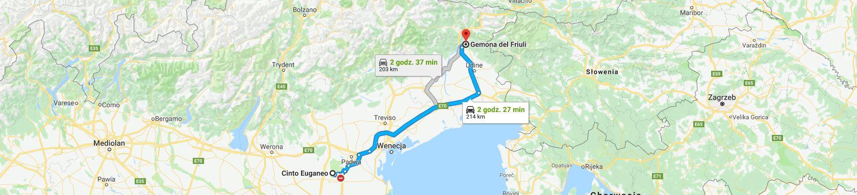 Trasa z Cinto Euganeo do Gemony