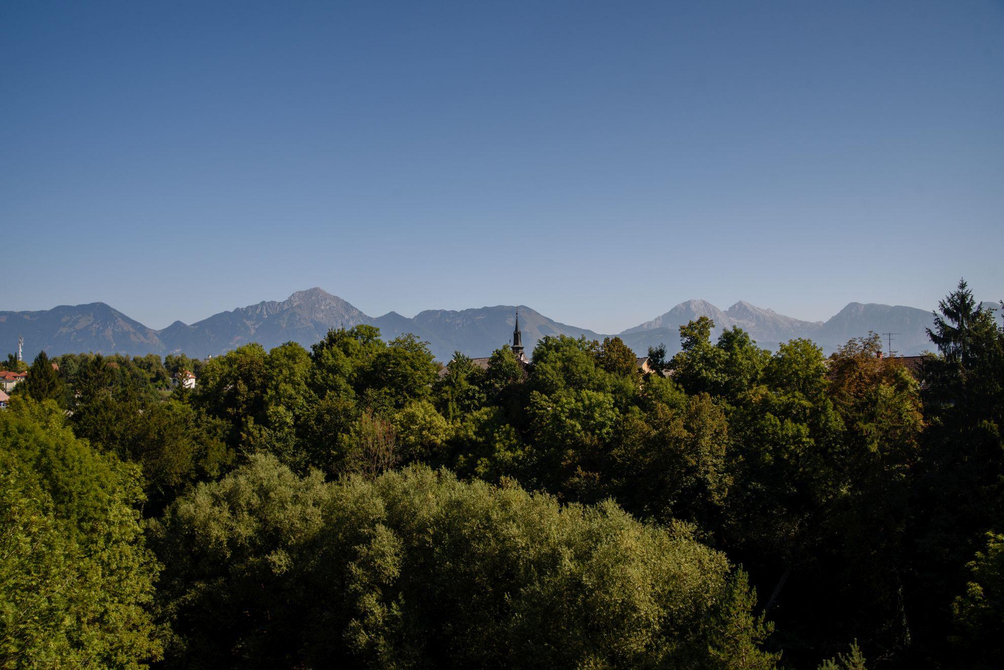 Alpy widoczne z wąwozu w Kranju
