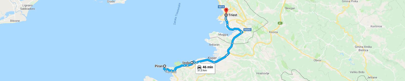 Trasa z Piranu do Triestu przez Izolę
