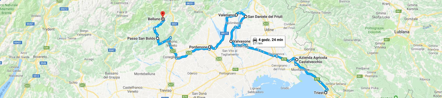 Trasa z Triestu przez winnice, Valvasone, San Daniele, Passo San Boldo do Belluno