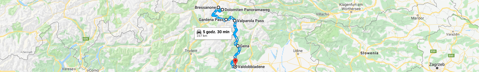 Trasa z Bressanone przez Plose, przełęcze Gardenia i Valparola do Valdobbiadene