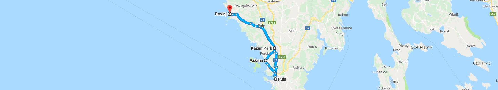 Trasa: Rovinj, Fažana, Pula