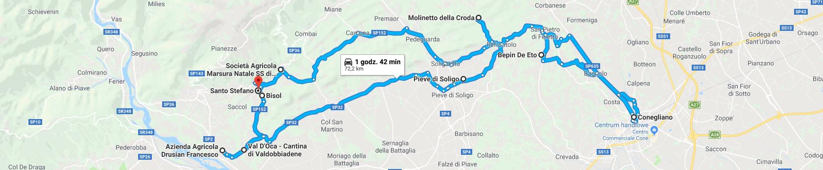 Trasa po winnicach w Valdobbiadene