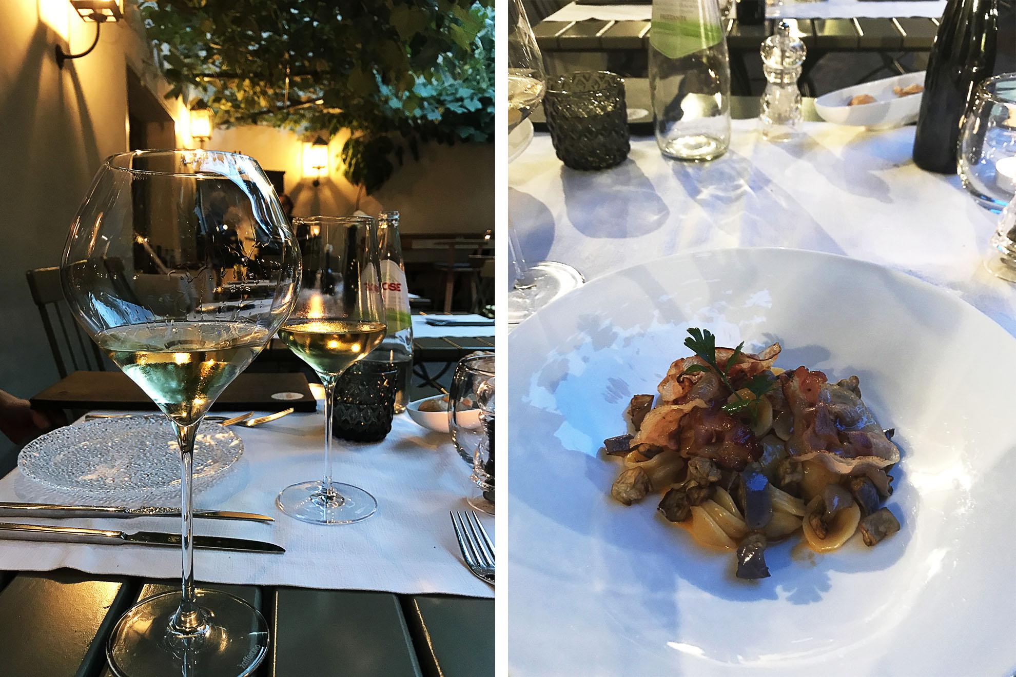 Bressanone i restauracja Vitis, pinot grigio i danie ze speckiem - przysmaki loklanej kuchni