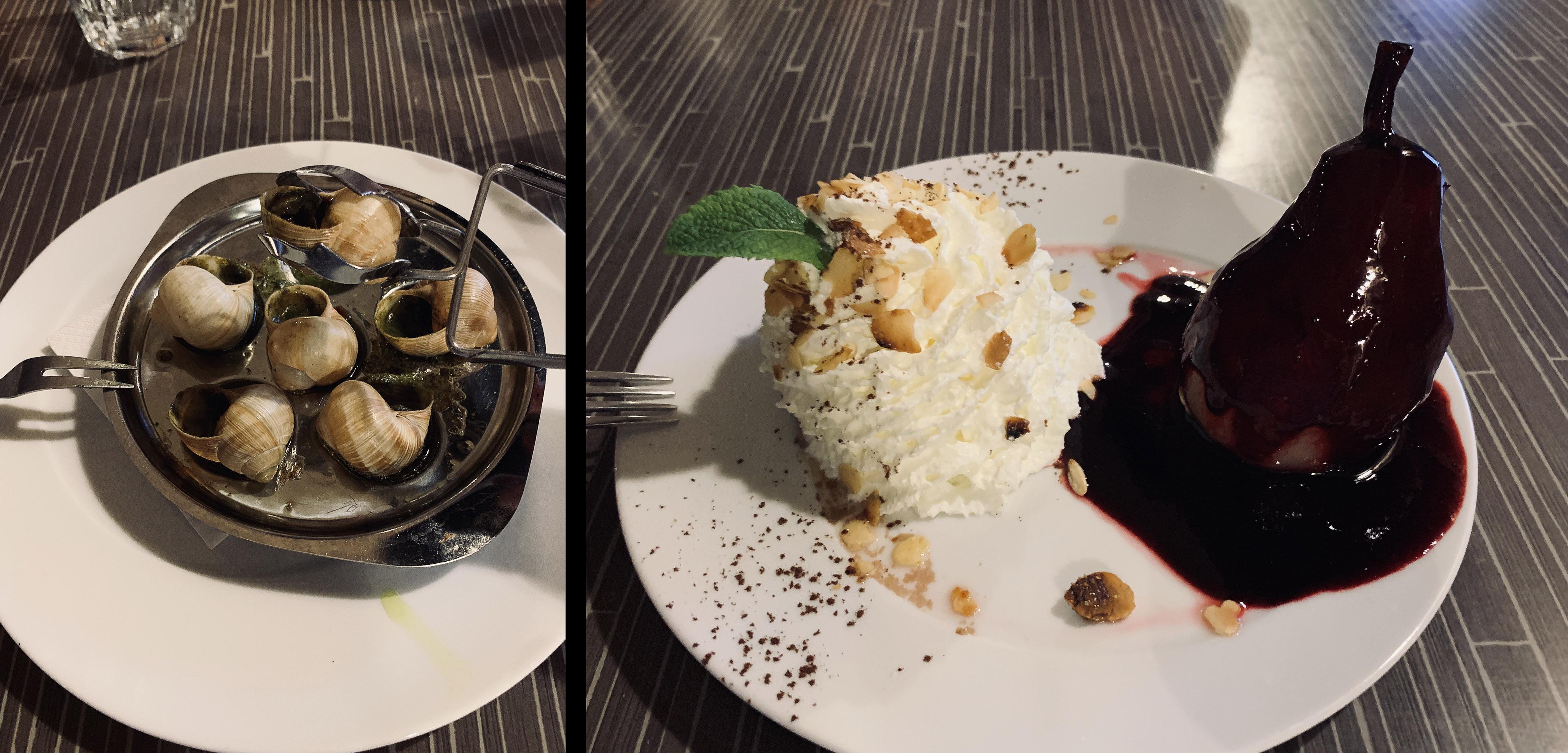 Kuchnia Burgundii - ślimaki w oliwie pietruszkowej oraz gruszka w polewie winnej