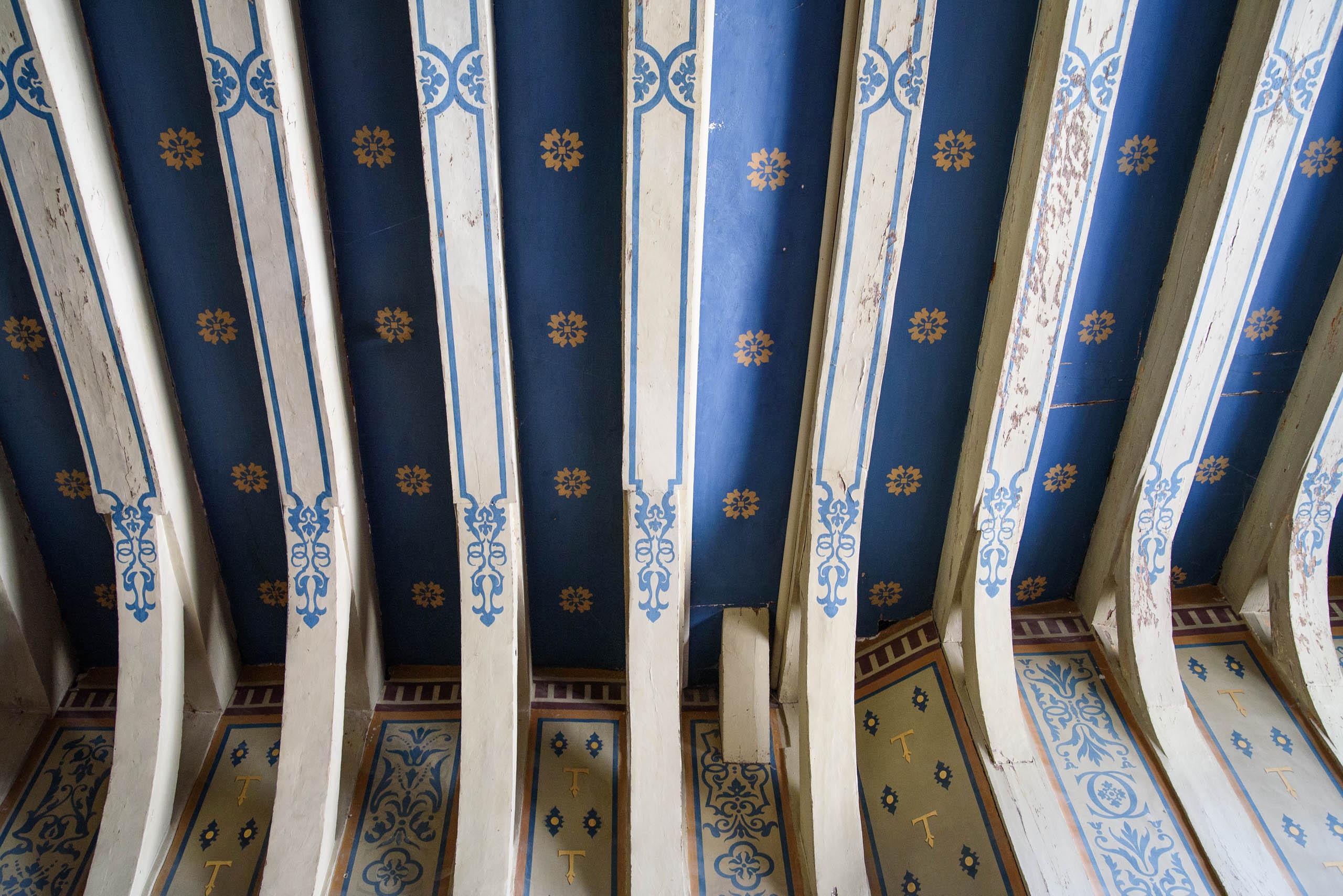 Sufit w korytarzu na drugim piętrze zamku Chenonceau